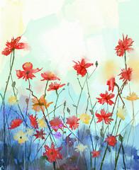 Watercolor flowers painting.Spring floral seasonal nature backgr
