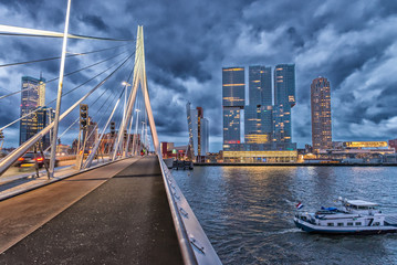 Rotterdam skyline. Beautiful view after sunset
