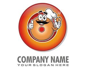 chef donuts character mascot logo image vector