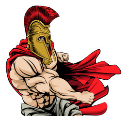 Punching spartan mascot