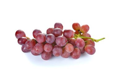 Fresh red grape on white background