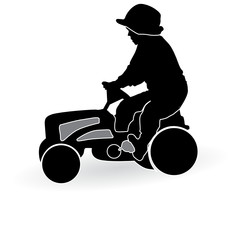 boy driving a tractor toy silhouette vector