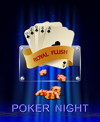 Casino background with poker combination royal flush and chips.