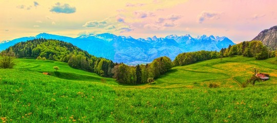 Green swiss pastures in valley and mountain range