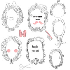set of doodle frames with hairs.