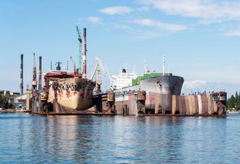 Two ships in ship repair yard