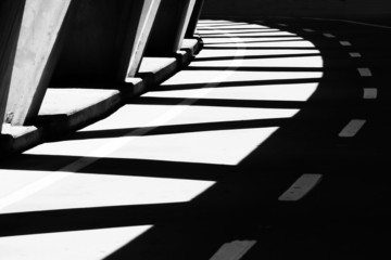 bridge with shadows in black and white