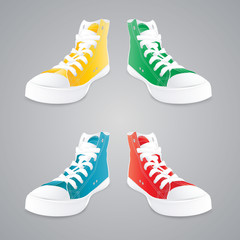 Colorful gumshoes. Concept vector illustration.