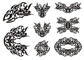 Dragon set in tribal style