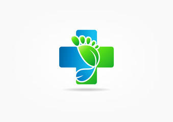 cross medic foot symbol vector, Podiatry concept design