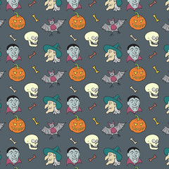 Colorful Textile Halloween Fun Pattern.