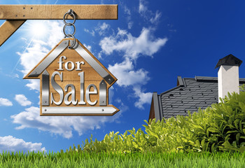 House For Sale - Sign Hanging from Chain
