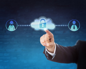 Touching Locked Cloud Linked To Two Office Workers