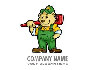 smiling mechanic bear character image vector