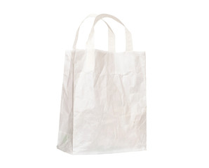 Old white paper bag with handles, crumpled,isolated