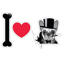I love french bulldog old fashion gentleman style with monocle