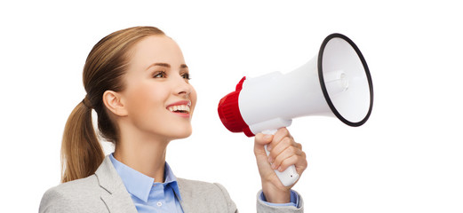 smiling businesswoman with megaphone