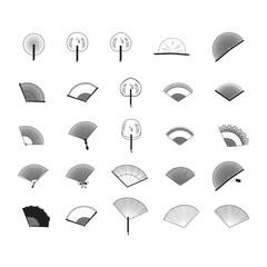 Fan Icons Set - Isolated On White Backgrou