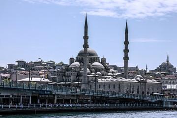 Galata bridge and mosque Emononu, Istanbul, Turkey
