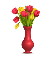 Tulips in vase isolated on white background