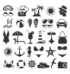 Summer flat icons set isolated on white background