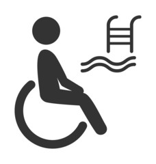 Disability man pictogram flat icon pool isolated on white backgr