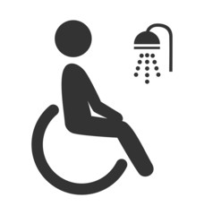 Disability man pictogram flat icon shower isolated on white back