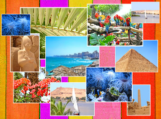 Colorful travel images collage.