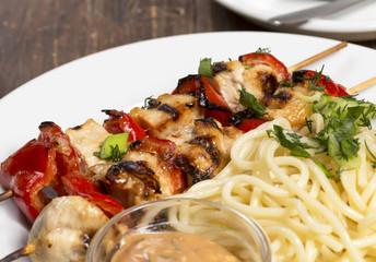 Chicken barbecue with spaghetti
