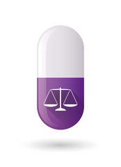 Purple pill icon with a weight scale