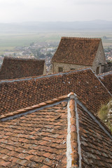 The tiled roofs in Rasnov, Transylvania, Romania