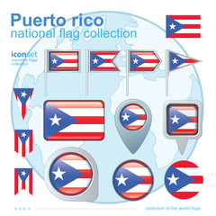 Flag of Puerto rico, icon collection, vector illustration