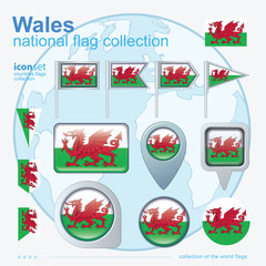 Flag of Wales, icon collection, vector illustration