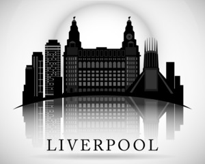 Modern Liverpool City Skyline Design. England