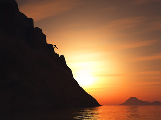 3D render of a rock climber climbing a large mountain