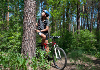 Cyclist leaning on pine tree in a beautiful spring forest.