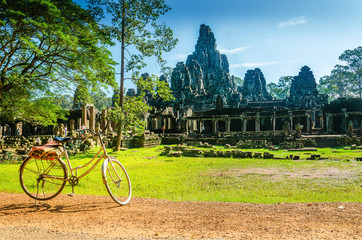 Bike tourist visiting Angkor Thom, Cambodia