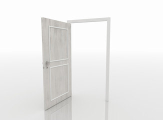 Open Door Isolated on White Background, 3D Render