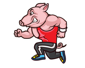 Running Big Hog Cartoon