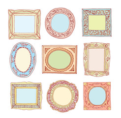 Set of old picture frames, hand drawn vector illustration.