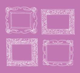 Set of old picture frames, hand drawn vector illustration.