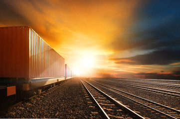 industry container trains running on railways track against beau Wall mural