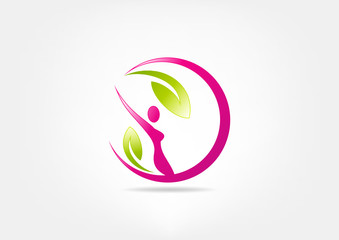 Healthy woman fitness vector logo design