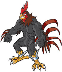 Muscular Cartoon Rooster Mascot with Semi-Realistic Head