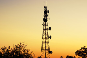 Radio tower at sunset in Redbank Plains, Brisbane, Queensland.