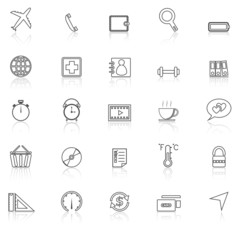 Application line icons with reflect on white.Set 2