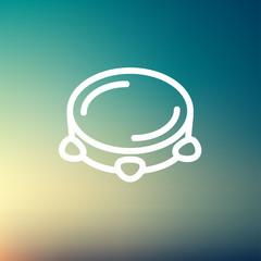 Tambourine thin line icon