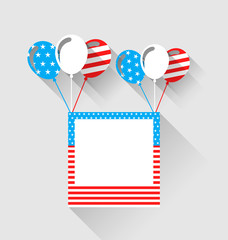 Photo frame and balloons in US national colors, long shadow styl