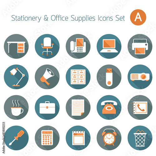 office supplies and stationery objects flat icons set a fichier vectoriel libre de droits sur. Black Bedroom Furniture Sets. Home Design Ideas