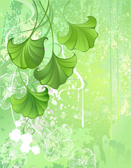 Background with Spring Green Leaves